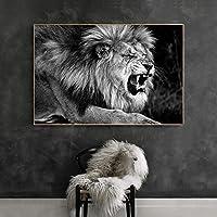 ブラックホワイトウォールアートワイルドライオンアニマルズキャンバスペインティングポスターとプリントリビングルームの装飾のためのとどろくライオンウォールアート画像60x90cm /フレームなし