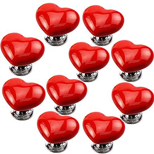 JeogYong Pomelli in Ceramica, 10pz Pomello per Cassetto a Forma di Cuore con Le Viti (Rosso)