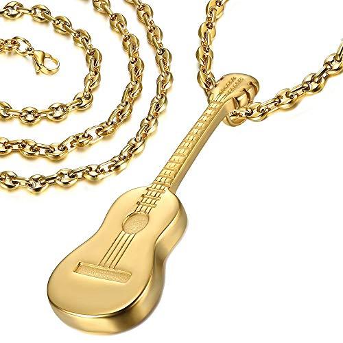 LE BAGACIER - Alle Anhänger Halskette Mann Gipsy-Gitarre, Stahl, verzinkt Gold + Kette-Korn-Kaffee-60cm