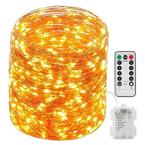 29M Corda di luci delle fate 240LED, luci in filo di rame impermeabili alimentate a batteria con timer remoto, per Garends, case, balli, feste di Natale, camera da letto in giardino (bianco caldo)