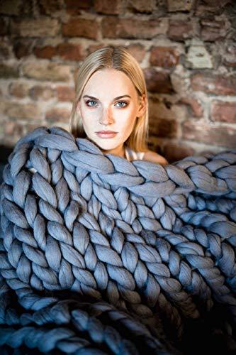 Chunky Knit Blanket. Throw Blanket from Organic Certified Merino Wool. Knitted blanket. Chunky Yarn...