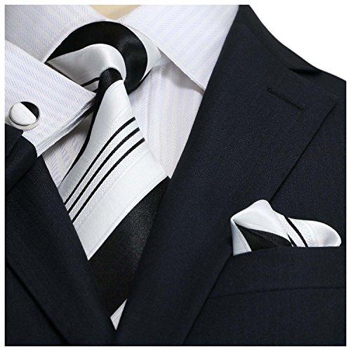 Landisun 10G noir blanc bande Homme Soie Ensemble:Cravate Boutons De Manchettes Mouchoir