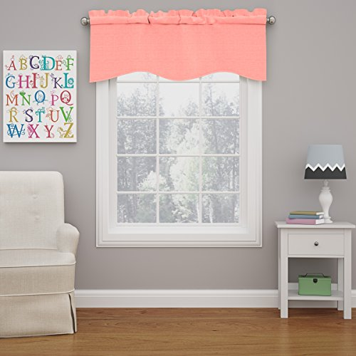 """ECLIPSE Kendall Solid Scalloped Window Valance Curtains, 42"""" x 18"""", Coral"""