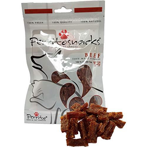Perrito Rind Leckerlie, getreidefrei, glutenfrei, weiche Snacks, Leckerlis für ernährungssensible Hunde und Katzen, 50 g Beutel