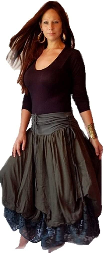 LOTUSTRADERS Skirt Layered Stretch Jersey Lace Ruching Ties F726