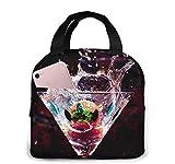 Splashing Cocktails Tote Lunch Bags para mujeres, Portátil Aislante Fiambrera Contenedor Cooler Bag, Tote Bento Pouch para viajes/Picnic/Trabajo