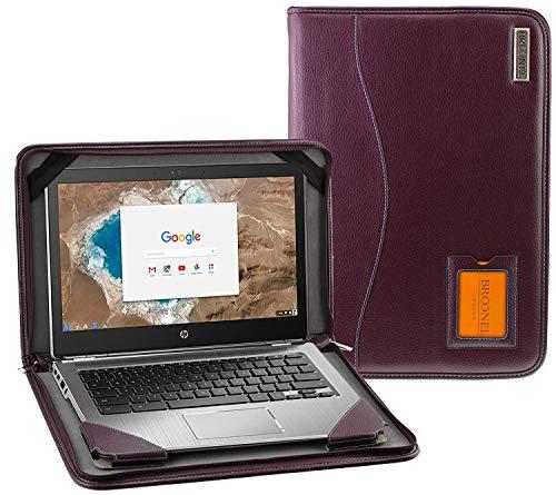 Broonel - Contour Series - Purper lederen Beschermhoes - Compatibel met de Dell Inspiron 15.6 inch HD Touchscreen Laptop
