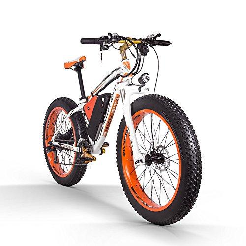 RICH BIT Bicicleta eléctrica para Adultos Top-022 1000w 48v 17Ah Neumático Gordo eléctrico Bicicleta de Nieve Motor sin escobillas Beach Mountain Ebike (Naranja Blanca)
