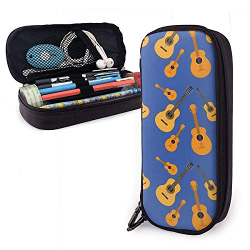 Estuche Escolar de Gran Capacidad, Bolsa de Lápiz Organizador para Material Papelería con Cremallera Doble Elementos de la música Guitarras Patrón Azul para Hombre Mujer Estudiante en Escuela Oficina
