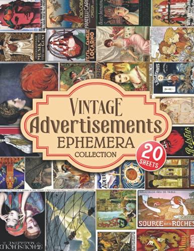 Anuncios vintage Colección Ephemera: 20 hojas con 69 anuncios de colores...