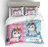 NYLIN Fundas Nórdicas Flores Unicornio para Niñas Colcha Estampada Infantiles Unicorn...