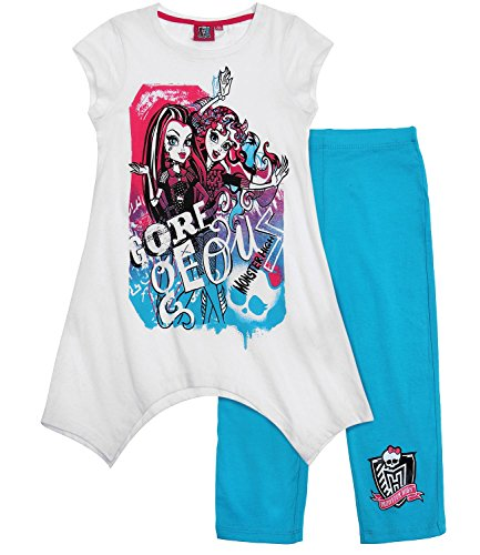 Monster High T-Shirt Leggins kurz Set 2 Varianten (134/140, weiß)