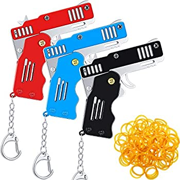 3 Pieces Rubber Band Gun Toy Easy Load Foldable Handmade Toy Gun Mini Metal Rubber Gun with Keychain and 120 Elastic Rubber Bands