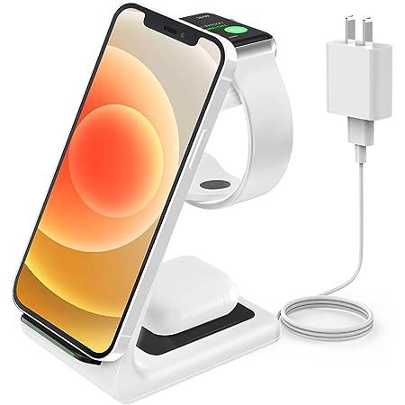 JoyGeek Wireless Charging Station, Wireless iPhone Charger, 3 in 1 Charging Station for Apple iPhone 13 Pro Max/13 Pro/13/12 Pro Max/12 Pro/12/11 Pro Max/11 Pro/11/SE/X/ XR/XS/8, iWatch6/SE/3, AirPods