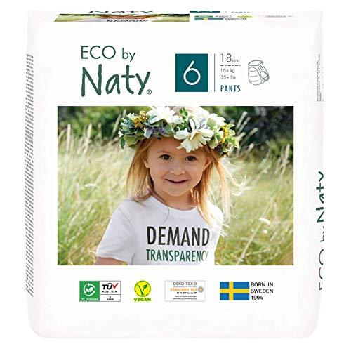 Eco by Naty Höschenwindeln, Größe 6, 18 Windeln, 16+ kg, Premium-Bio‑Höschenwindeln aus pflanzenbasiertem Materialien. Frei von gefährlichen Chemikalien