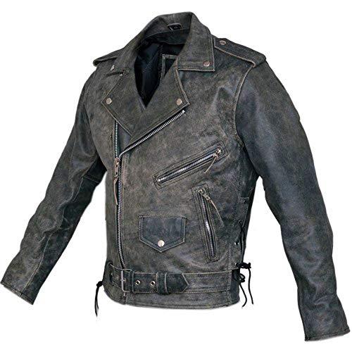 Bikers Gear Australia Harley Cruiser-Jacke, klassisch, Vintage, Used-Look, aus Leder, mit CE 1621-1 Rüstung, Größe S, 91,4 cm