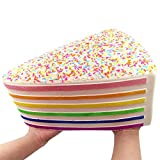 Giant Rainbow Cake Squishy Toys Jumbo Soft &Slow Rising Squishy Toy Stress Reliever