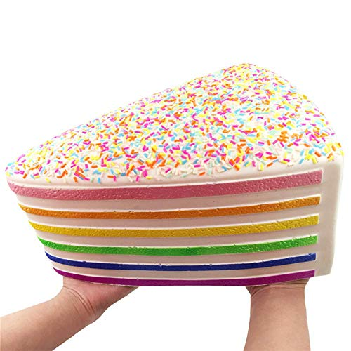 Ganjiang Giant Squishy Toys Jumbo Rainbow Cake Squishy Slow Rising Squishies with Rainbow Sprinkles Collection Gift Stress Reliever
