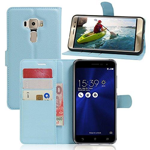 Tasche für Asus ZenFone 3 (5.2zoll) ZE520KL Hülle, Ycloud PU Ledertasche Flip Cover Wallet Hülle Handyhülle mit Stand Function Credit Card Slots Bookstyle Purse Design blau