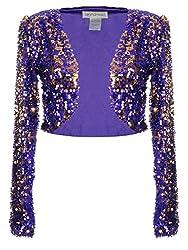 Purple Sequin Long Sleeve Cropped Blazer Bolero Shrug