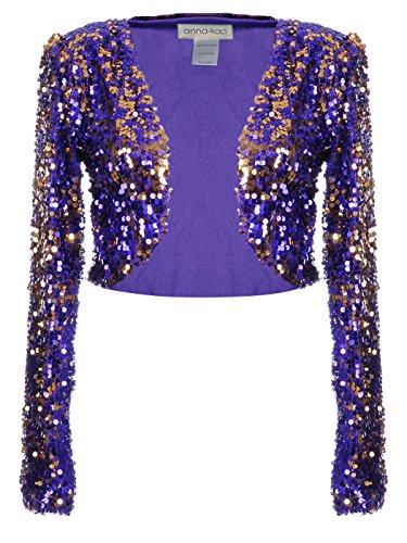 Anna-Kaci Womens Shiny Sequin Long Sleeve Glitter Cropped Blazer Bolero Shrug, Purple, Large