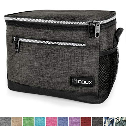 OPUX Premium Lunch Box, Insulated Lunch Bag for Men Women Adult   Durable School Lunch Pail for Boys, Girls, Kids   Soft Leakproof Medium Lunch Cooler Tote for Work Office   Fits 8 Cans (Charcoal)