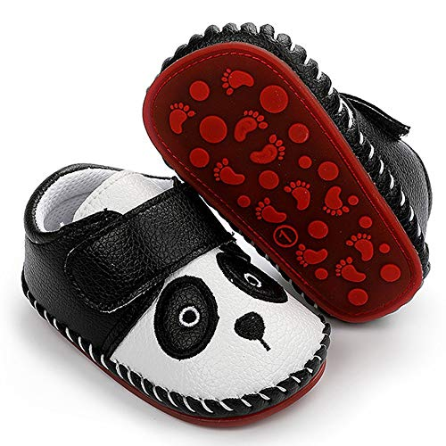 HsdsBebe Baby Boys Girls Pu Leather Hard Bottom Walking Sneakers Toddler Rubber Sole First Walkers Infant Cartoon Slippers Crib Shoes(Panda,2)