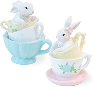 Boston International Teacup Bunnies Pastel 4 x 3 Resin Stone Easter Collectible Figurines Set of 2