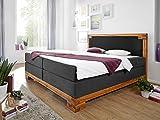 BELLAMIE Boxspringbett Hotelbett Bett amerikanisches Bett mit massivem Holzrahmen 7-Zonen Taschenfederkernmatratze 160 x 200 cm Härtegrad 3, 160 x 200 cm