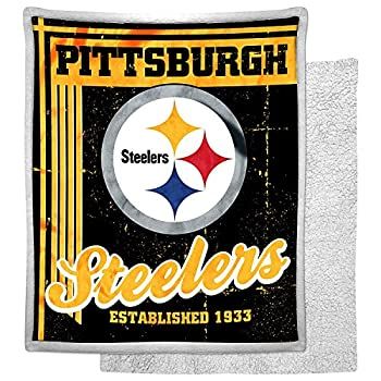NFL Pittsburgh Steelers Mink Sherpa Throw Blanket 50  x 60