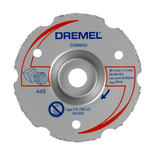 Dremel DSM600 Multifunktions Karbid-Trennscheibe, Zubehörsatz mit 1 Trennscheibe 77mm für die Kreissäge zum Sägen und Trennen von Holz und weichen Materialien