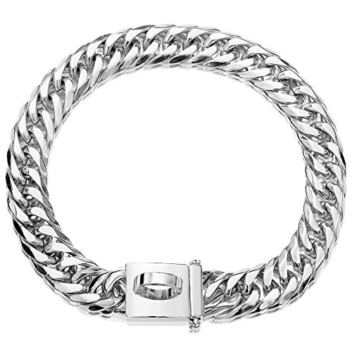 Silver Dog Chain Collar Walking Metal Choke Collar with Design Secure Buckle, High Polished Stainless Steel Cuban Link 16MM Utra Strong Heavy Duty Chew Proof Walking Collar(Silver, 16MM, 16')