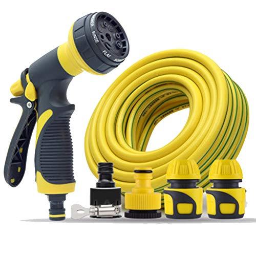 XOMGNEAZ Juego de pistola de manguera de jardín, 8 patrones ajustables, boquilla de pulverización de alta presión, ideal para regar, lavado de coches, mascotas de ducha (5 mètres, amarillo 5)