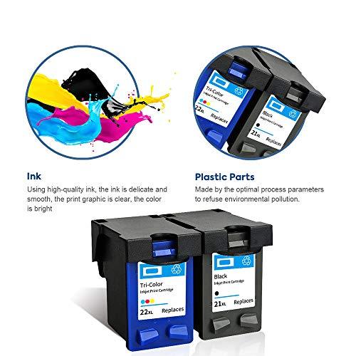 SMARTOMI Remanufacturado 21XL 22XL compatibles con HP 21 22 para HP Deskjet D1468 D1520 D1420 D2330 D2430 D2460 D2445 D2320 F2180 F4180 F2140 F2290 F2280 F2188 (1 Negro 1 Tricolor)