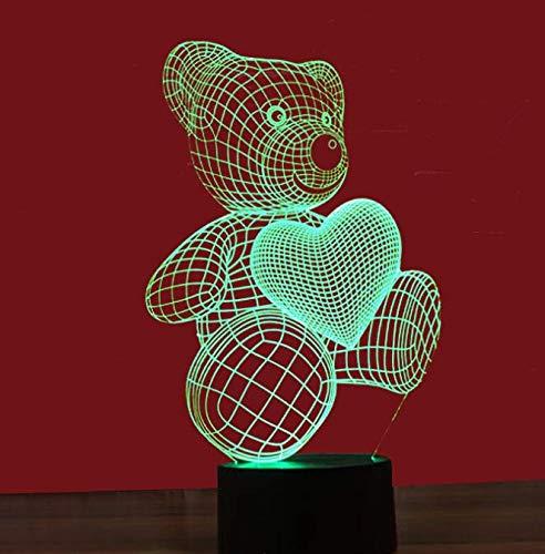 Decoración de ilusión 3D Led Luz de Noche Regulable Luz de Noche Artesanías Lámpara de Estado de Ambiente con Carga USB Auto Cambio de Color Lámparas de Niños
