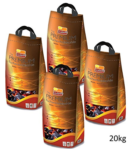 L.A. Garden Premium Buchen-Holzkohle 20kg Profi Grillkohle 4 x 5 kg Sack – Hartholzkohle aus Buchenholz - Lange Brenndauer gleichmäßige Glut