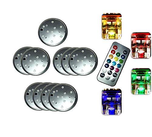 Unterwasser Licht | LED Leuchten | Multi Farbwechsel | Unterwasserlicht mit Fernbedienung für Shisha Garten Halloween Christmas Party Whirlpool 1-4 Sets (1Set Silber)