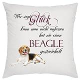' Wer sagt Glück kann man nicht anfassen hat nie einen Beagle gestreichelt ' Zierkissen,...