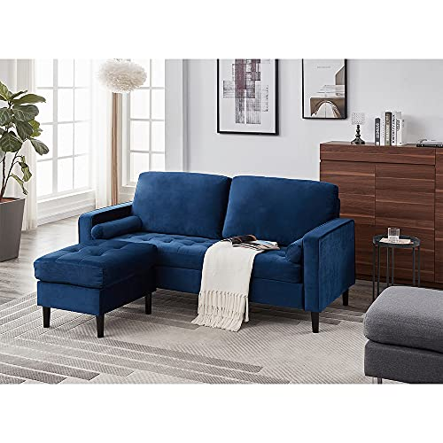 Panana Luxury 3 Seater Sofa with Footstool L Shaped Sofa Lounge Sofa Modern Velvet Fabric Sofa Couch Settee for Living Room Suite, Button Detailed Seat + Removable Footstool + 2 Free Cushions, Blue