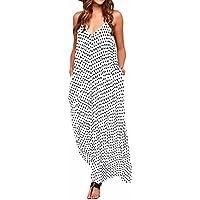 ZANZEA Mujeres Elegante Bohemio Algodón Casual Vestido Suelto Largo Playa Lunares Cuello V sin Mangas Blanco EU 52