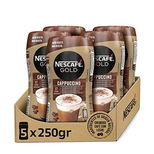 NESCAFÉ GOLD CAPPUCCINO NATURAL, cremoso café soluble con leche desnatada, Pack de 5 botes de 250 g