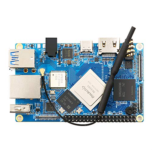 Taidacent Orange Pi 4 Development Board RK3399 Chip Orange Pi 4 4GB DDR4 16GB EMMC Dual Screen Different Display (Motherboard + Power+ Heat Sink)