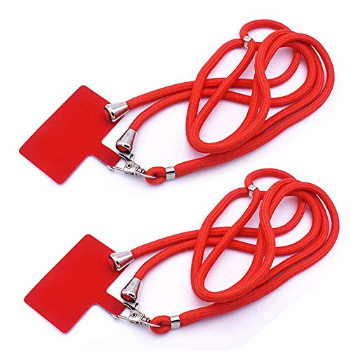Smartphone Lanyard Universal Adjustable Nylon Around Neck Shoulder Strap with Tether Tab and Key Chain Holder for Cellphone Case 2 Pack (Red)