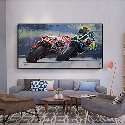 IHlXH Aquarell Öldrucke Valentino Rossies Poster Motorrad Leinwand Gemälde Wandkunst Dekoratives Bild für Wohnzimmer Wohnkultur A3 60x90 ohne Rahmen