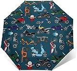 Parapluie automatique à trois volets pour moto et tricycle - Imprimé extérieur