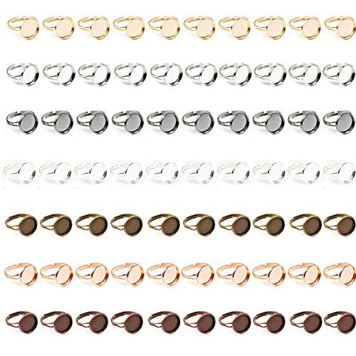70 piezas en blanco para anillos, bases de anillo ajustables, bandejas redondas de metal para anillos de dedo, bases de anillo, bandeja plana para manualidades, cabujones, collares y bisutería.