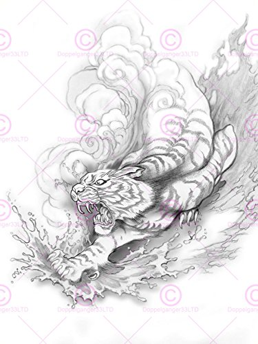 Doppelganger33 Ltd Painting Drawing Illustration Japanese Tiger Tattoo Japan Canvas Art Print