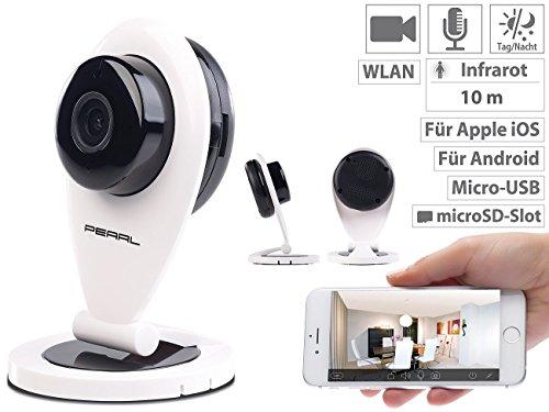 PEARL Funkkamera ohne WLAN: Full-HD-IP-Kamera m. Bewegungserkennung, Nachtsicht & microSD-Aufnahme (Kamera WLAN)