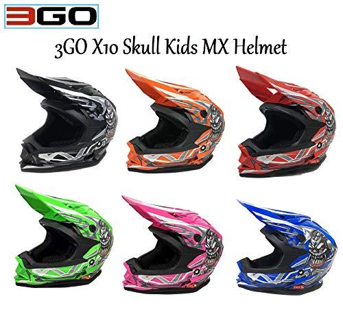 3GO X10-K BAMBINI CRANIO DESIGN MOTOCROSS QUAD ATV ENDURO OFF ROAD CASCO ROSSO CON OCCHIALI 49-50 CM M