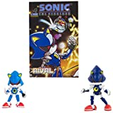 Sonic Classic Metal Sonic & Modern Metal with Comic Book| Official Licensed Product from Tomy | Includes Original Comic Book